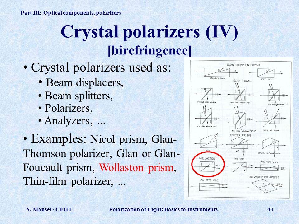 Crystal polarizers (IV) [birefringence]